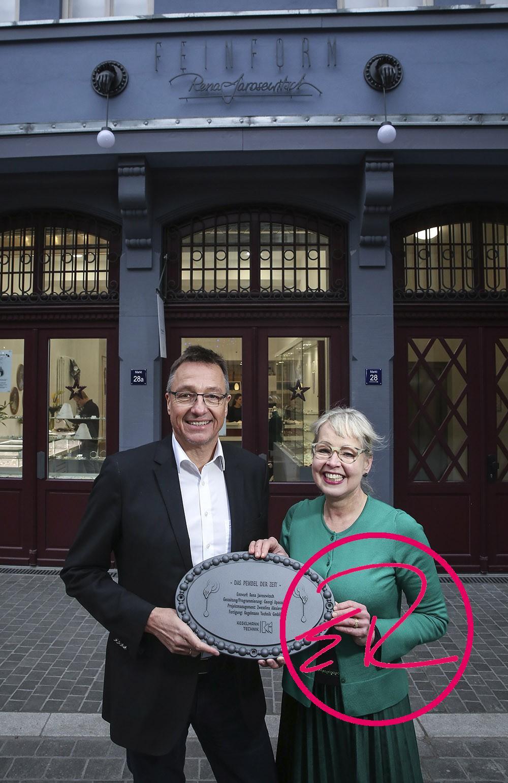 Stephan Kegelmann, Geschäftsführer Kegelmann Technik GmbH und  Goldschmiedemeisterin Rena Jarosewitsch