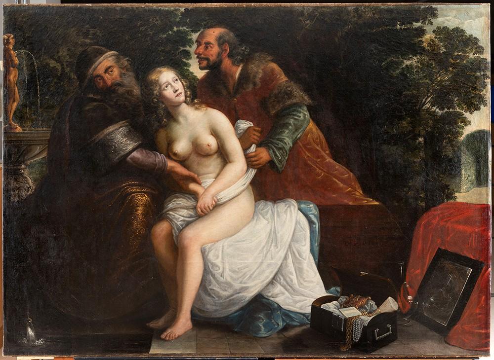 Friedrich Kramer, Susanne im Bade, von den beiden Alten überrascht, 1645, restaurierter Zustand, © HMF, Horst Ziegenfusz