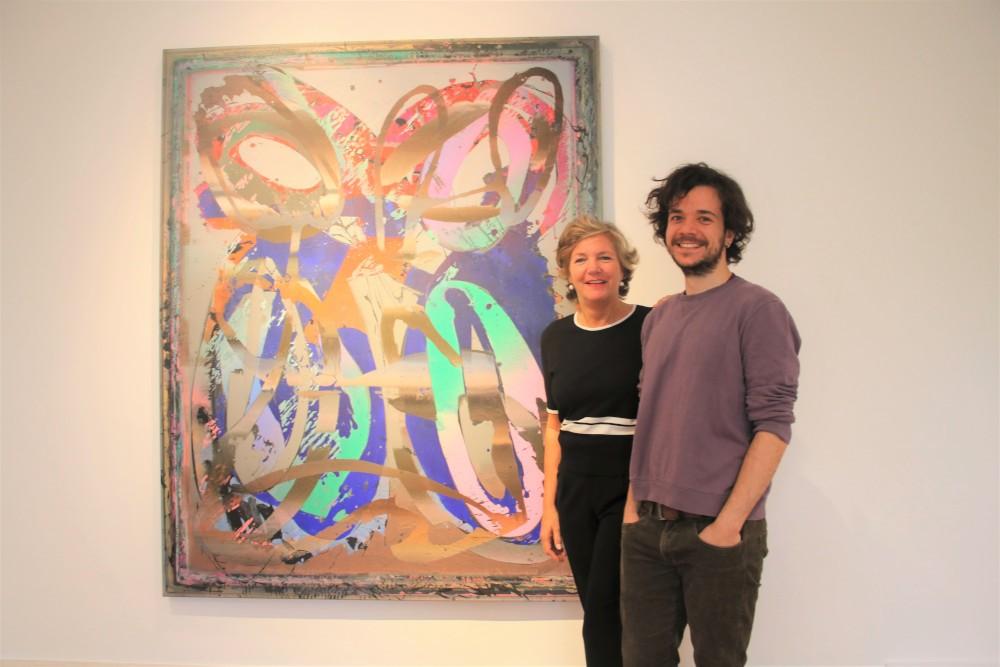 Der Künstler Rudi Ninov mit Sotheby-Chefin Nina Buhne Foto: Edda Rössler