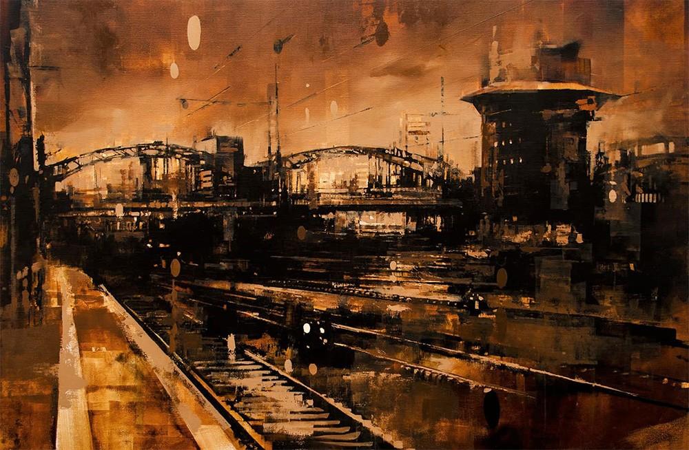 Jedes Werk zeigt einen Ort in Frankfurt am Main © Galerie Mühlfeld und Stohrer