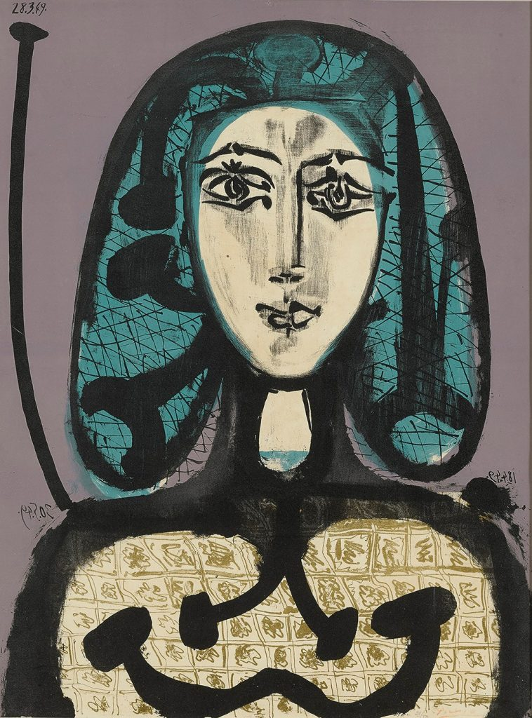 La Femme aux Cheveux verts 1949, Farblithografie auf Bütten © Die Galerie