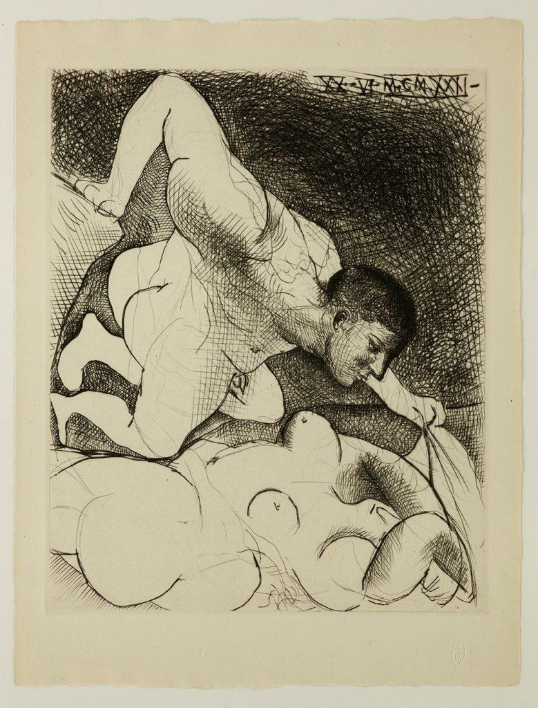 Homme dévoilant une Femme, Suite Vollard #5, 1931, 1933 Radierung auf Bütten © Die Galerie