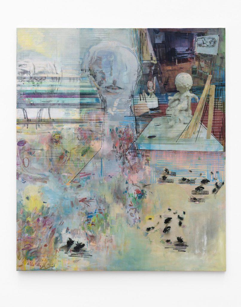 Crucial Head Kicking, 2020, Acryl, Papier auf Leinwand, 230x200 cm, Marcus Oehlen (c)Bärbel Grässlin