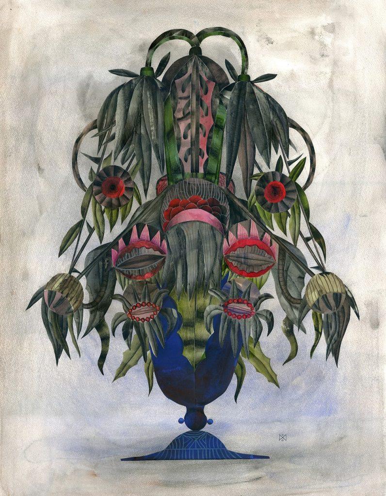 Leuenroth Wagner Faded Bouquet 2 90x70cm Papierschnitt