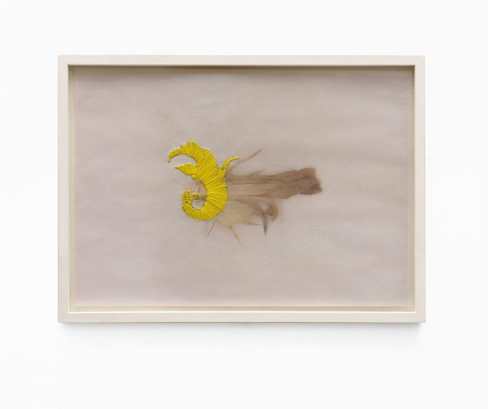 04_Siebdruck (Siebdruck mit Stickerei gelb) Elisaveta Braslavaskaja Plate III, 2020 CMYK Siebdruck auf Büttenpapier, Stickerei gelb 37,5 x 27 cm, gerahmt